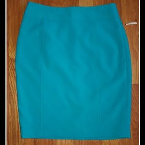 NEW Loft Teal Lined Pencil Skirt 2P 2 P Petite